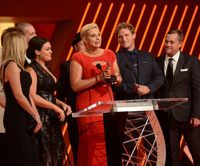 Johanna Griggs accepting a Logie.