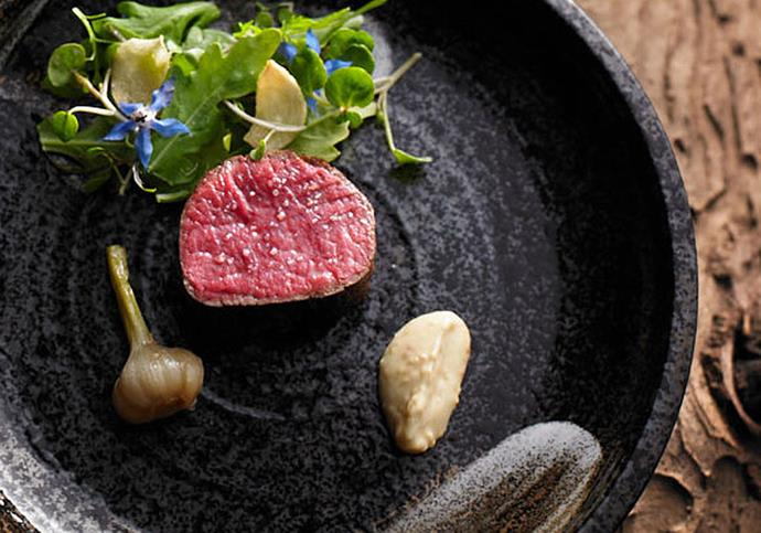Penfolds Magill Estate Restaurant's Mayura wagyu, served with  sesame, borage and wild watercress.