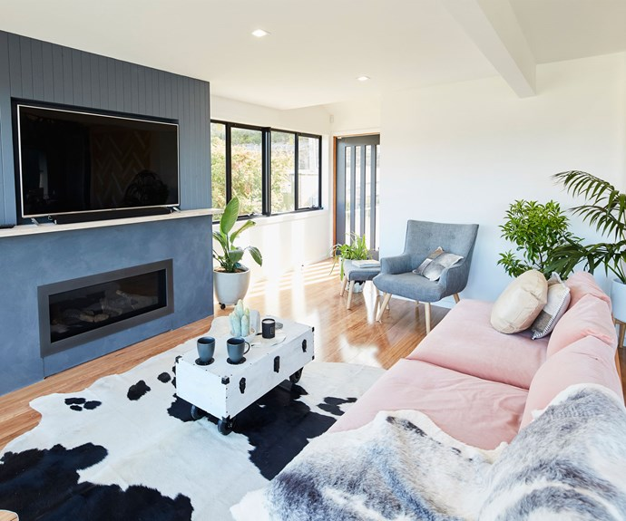 "**The Loungeroom:** Fiona and Nicole worked their magic on the loungeroom, winning over the judges with their choice of sofa. ""I love that sofa so much I'd go on a date with it,"" LLB said."