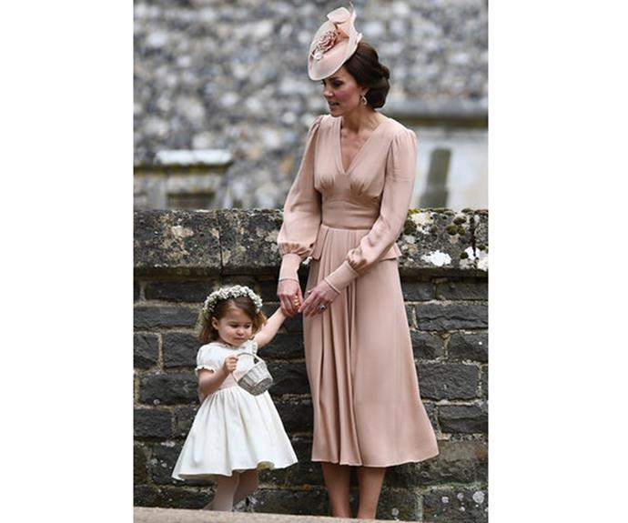 "Catherine looked stunning in a blush-coloured Alexander McQueen tea dress and matching hat at her sister Pippa's [wedding](http://www.nowtolove.com.au/royals/british-royal-family/pippa-middleton-marries-james-matthews-37442|target=""_blank"") to James Matthews in May 2017."
