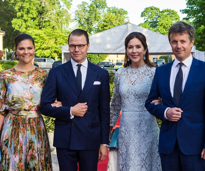 On May 29, Mary and Fred were treated by Princess Victoria and Prince Daniel to a welcome dinner at the Ericsonhallen concert hall in Stockholm.