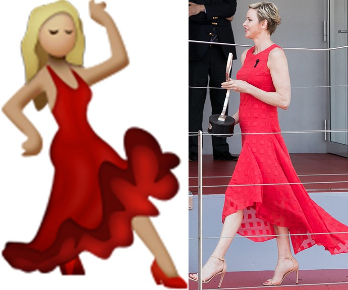 And fans were delighted by Charlene's red dress, that reminded many of this amazing emoji.