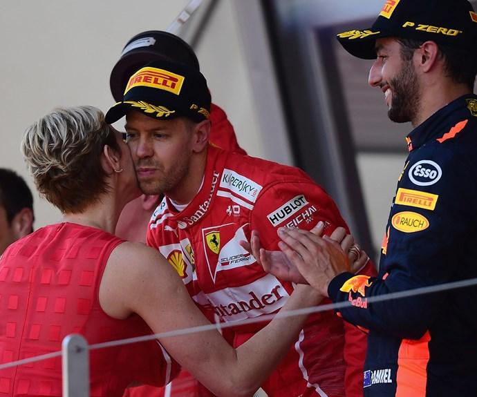 Australia's Daniel Ricciardo [R] came in third place.