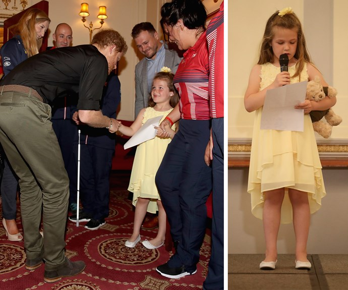 The six-year-old gave Prince Harry a letter she'd penned, thanking him for giving her mum, RAF Sgt. Michelle Turner, the opportunity to participate in the Games for swimming and rowing.