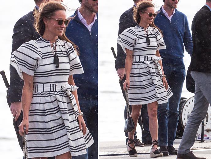 Pippa Middleton wearing the Kate Spade Bea Stripe Talita Dress.