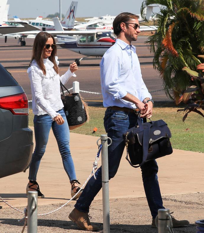 Pippa Middleton and James Matthews land in Darwin.