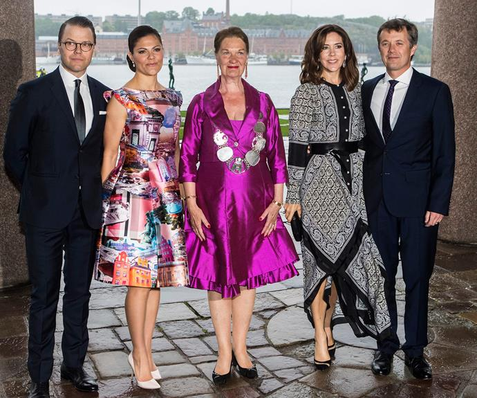 Prince Daniel of Sweden, Princess Victoria of Sweden, President of the Stockholm City Council Eva-Louise Erlandsson Slorach, Prince Frederik and Princess Mary of Denmark pose up ahead of the event.