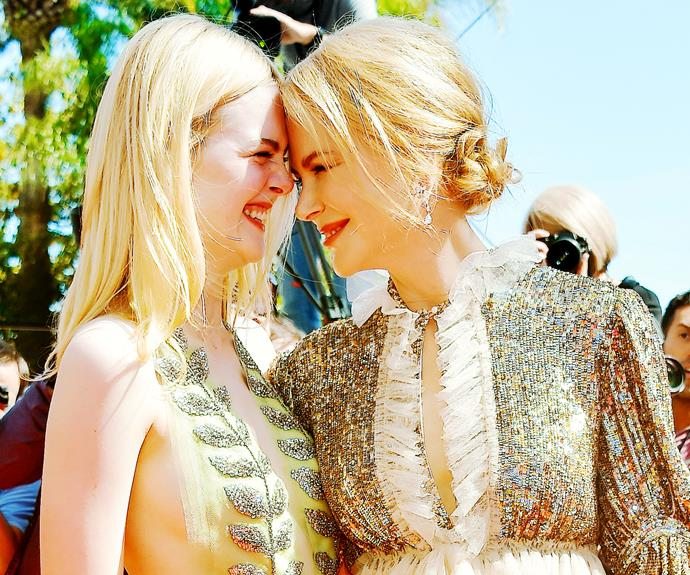 """Continuing her up-close-and-personal approach on the Cannes Film Festival red carpet, Nic snuggled in to another *The Beguiled* co-star, Ella Fanning. """"I suppose the basis of who I am is maternal,"""" Nic tells *InStyle*."""
