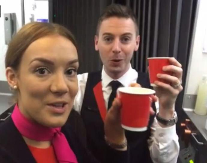 Beatrice and a colleague enjoy a cup of tea.