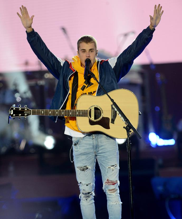 "Justin Bieber announed, ""God is good in the midst of the darkness. God is good in the midst of the evil. God is in midst, and he loves you and he is here for you."""
