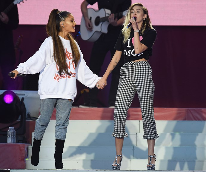 Ariana and Miley stunned with their rendition of the Crowed House hit *Don't Dream It's Over*.
