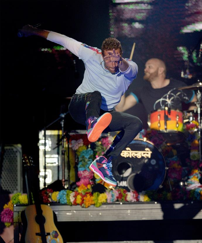 Chris Martin wowed everyone with his energetic performance.