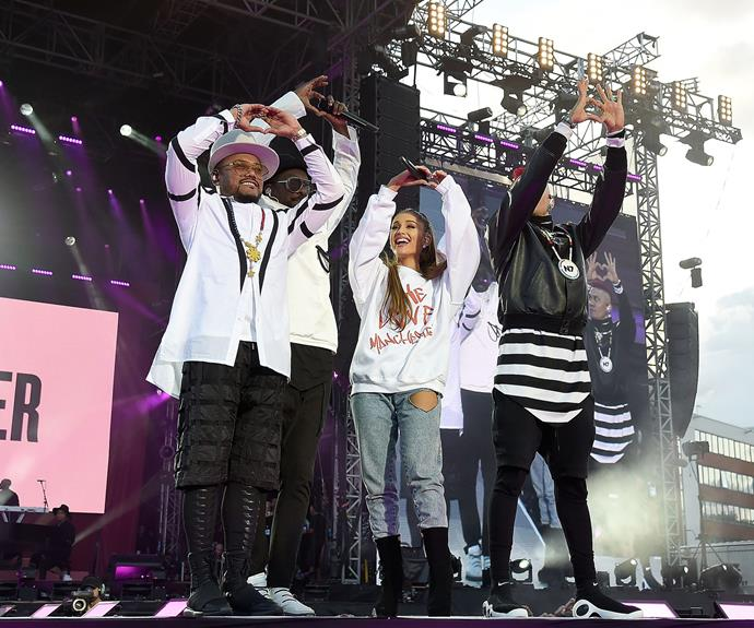 Black Eyed Peas took to the stage for the historical moment.