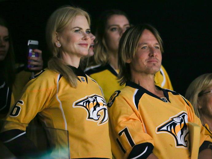 Who could forget this adorable moment when Nic and Keith donned matching yellow jerseys for the Nashville Predators game this year, which had been customised with their names on the back, of course...