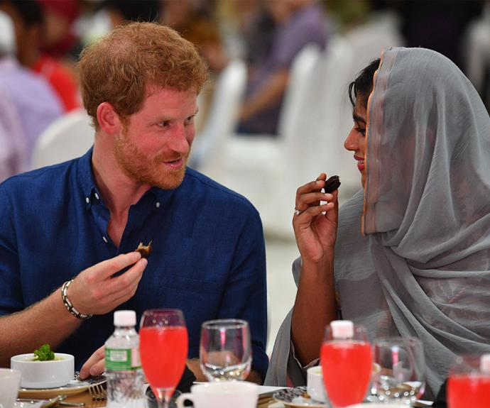 Harry tucks into a meal at Jamiyah in Singapore.