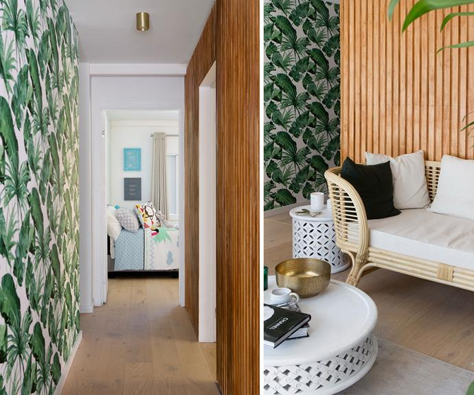 "**Hallway – renovated by Sean and Ella:** The first thing Daniella said when she walked through the hallway was, ""Shut up, I love it!"". The timber wall paired with the tropical wallpaper hit all the house rules."