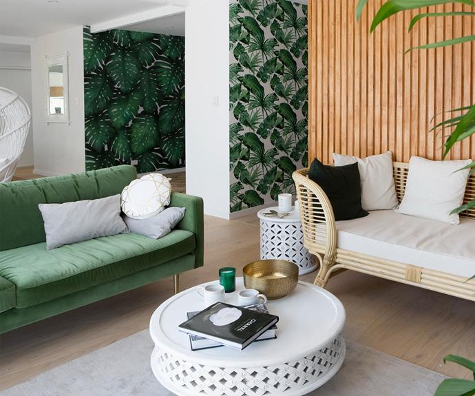 **Loungeroom – renovated by Sean and Ella:** The green sofa was a winner for Aaron and Daniella – with Aaron admitting he loved the tropical vibe so much that like he was relaxing in the Bahamas.