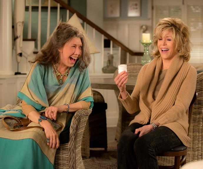 ***Grace & Frankie:***  The relationship between Grace (Jane Fonda) and Frankie (Lily Tomlin) is a difficult one. Originally the women were mere acquaintances through their husbands (who were business partners) but their lives are thrown into turmoil when their husbands Robert (Martin Sheen) and Sol (Sam Waterston) reveal that they are in love and have secretly been together for 20 years, the women are thrown together and a friendship forms.