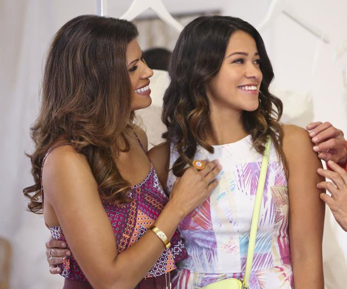 **Xiomara & Jane (*Jane The Virgin*):**  Another mother-daughter relationship here, but much like Lorelai and Rory, Xiomara (Andrea Navedo) and her daughter Jane (Gina Rodriguez) only have a 16 year age difference and are each other's best friend.