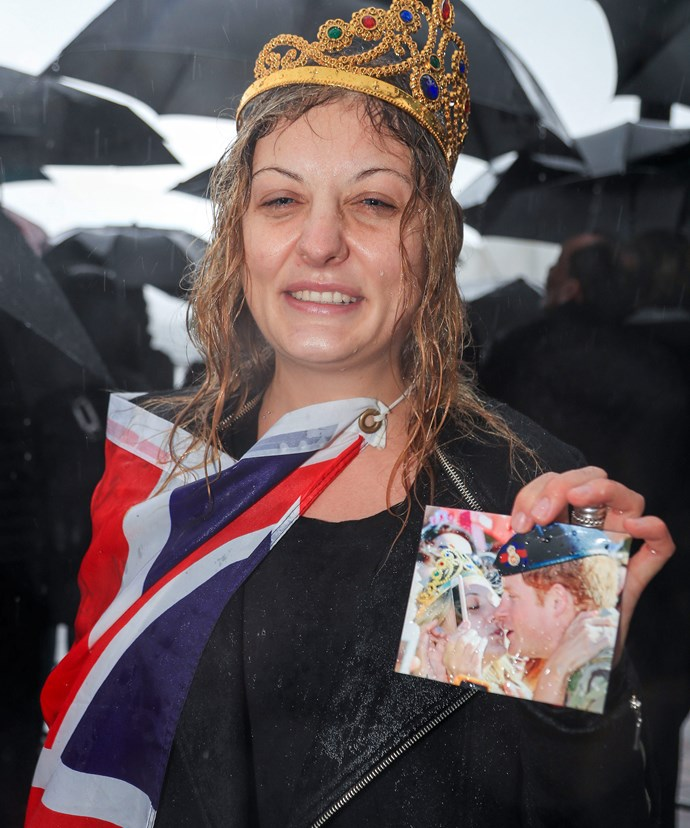 Never forget: Victoria came armed with a tiara and a photo of their smooch from two years ago.