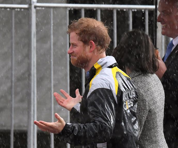 "Just like us, the sky was weeping tears of joy but that didn't deter the prince from meeting fans who had [camped out in the rain](https://www.nowtolove.com.au/royals/british-royal-family/prince-harry-meets-fans-in-sydney-38121|target=""_blank"") (*Now To Love* included!)."