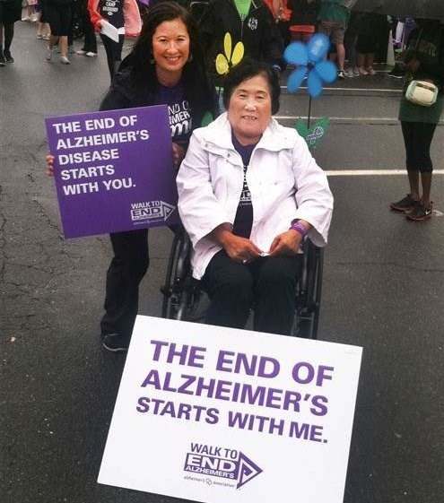 Christine with her mum at the Walk to End Alzheimer's.
