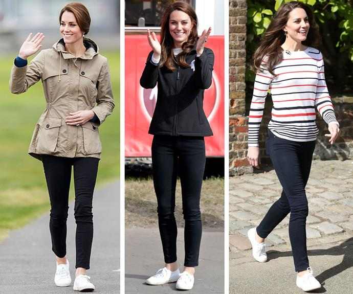"When she's not dolled up to the nines, Duchess Catherine is known for her affordable casual pieces such as these Superga Cotu Classic sneakers which she wears on repeat. Best of all you can get them right here in Australia, and they will only set you back [$89.95](http://www.theiconic.com.au/2750-cotu-classic-180647.html|target=""_blank""