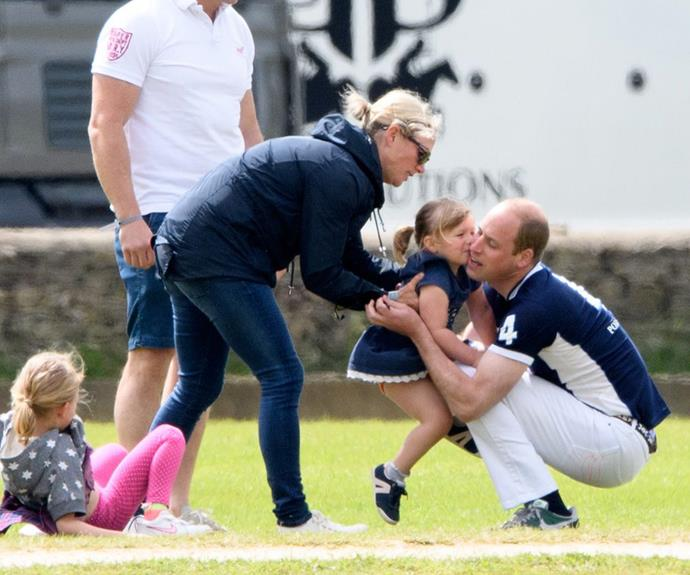Mia, who is close with cousins Prince George and little Charlotte, plants a kiss on the future-King's cheek.