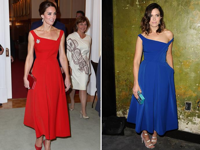 """Mandy Moore took inspiration from Duchess Catherine's wardrobe during her 2016 Royal Tour of Canada at a press event for *This is Us* - the hit show she stars in. Ironically it was Mandy who went for the royal blue option of the $1,675 Press gown, styling it with silver heels and loose waves. The two prove that """"who wore it best"""" isn't really a question you need to ask when the answer is obviously both."""