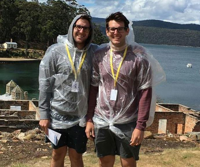 We're not sure how well those plastic ponchos protected Andrew and Jono from the rain!