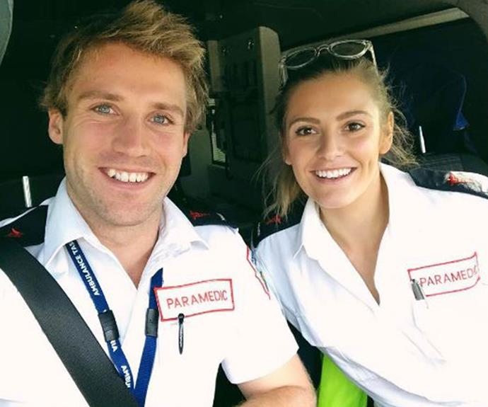 Ambulance officers Sean and Ella are all smiles on the job!