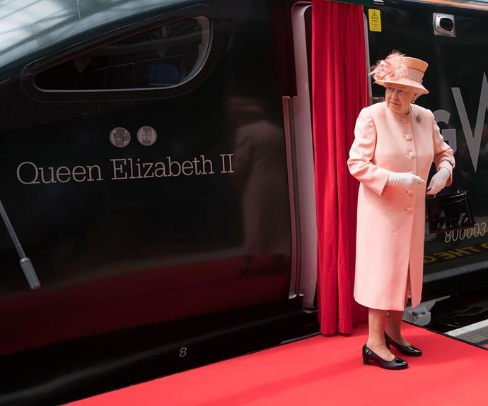 The monarch looked delightful in a matching peach-coloured coat and hat - perfect for the UK's spring weather.