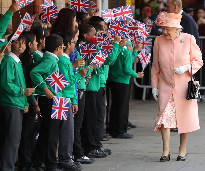 Waiting for Her Majesty at Slough station was a group of local school children, who were very excited to see the Queen and Prince Philip.