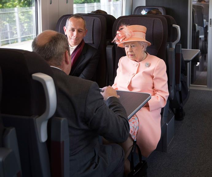 "Queen Elizabeth II was joined by her husband Prince Philip for the trip from Slough, close to her Windsor Castle home, to Paddington in west London. Queen Victoria's original journey took about 30 minutes; the then 23-year-old queen stating at the time that it was ""delightful"" and the ""motion was very slight, and much easier than a carriage — also no dust or great heat."" However the new train, from the Great Western Railway company, only took a leisurely 19 minutes."