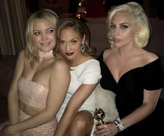 Kate, J.Lo and Gaga party the night away at the Beverly Hilton after last years' Golden Globes.