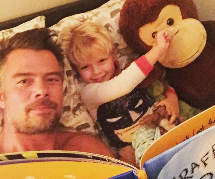 **Josh Duhamel** reads a bedtime story to his son Axl Jack, three, and his monkey friend. Fergie's hubby took to his [Instagram](https://www.instagram.com/joshduhamel/?hl=en) to talk about the importance of reading aloud with children.