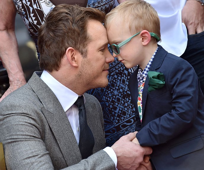 [**Chris Pratt**](http://www.nowtolove.com.au/celebrity/celeb-news/the-evolution-of-chris-pratt-from-cheeky-funnyman-to-charismatic-leading-lad-27849) and Anna Farris' son Jack, four, shared a special moment with his dad as Chris received his Hollywood Walk of Fame star.