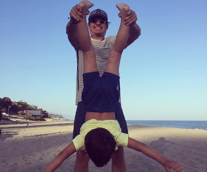 """One of the best things is staying with the family when you have one,"" **Orlando Bloom** wrote as he posted this cheerful snap of him and six-year-old son Flynn to his [Instagram](https://www.instagram.com/orlandobloom/?hl=en)."