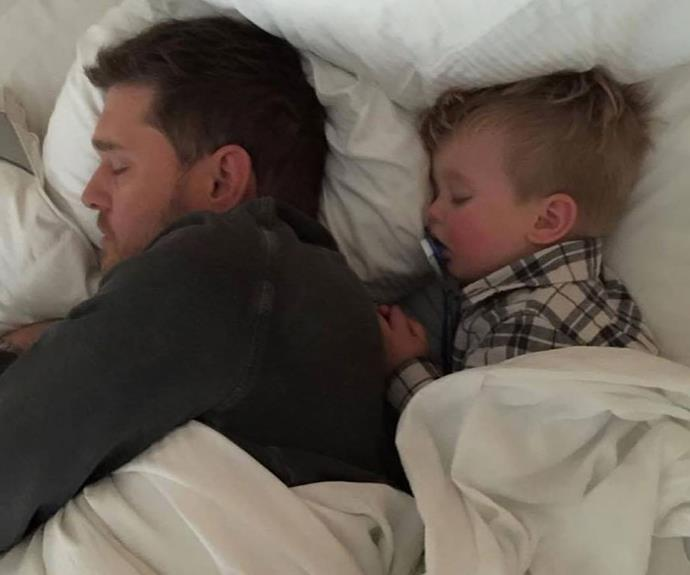**Michael Bublé**'s wife Luisana Lopilato captured this adorable picture of her husband with their eldest son Noah. When three-year-old Noah was [diagnosed with liver cancer](http://www.nowtolove.com.au/celebrity/celeb-news/luisana-lopilato-speaks-about-son-noahs-cancer-battle-36639) last year, Michael and Luisana both immediately put their careers on hold to be there for their son. Thankfully, Noah's health has since improved.