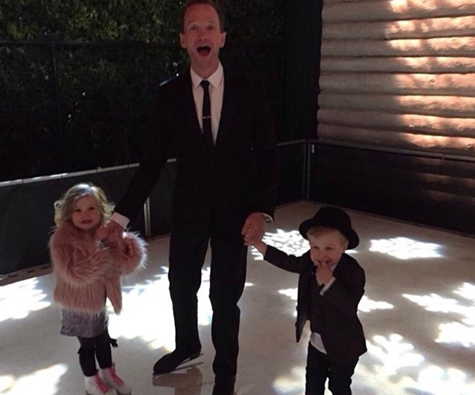 **Neil Patrick Harris** is all smiles as he ice skates with his six-year-old twins, Harper Grace and Gideon Scott.