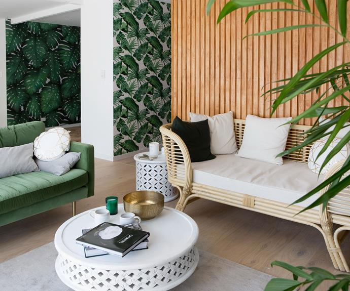 """**The lounge room in Aaron and Daniella's house in Qld (Sean and Ella):** """"That was a beautiful room too. I loved the furniture choices, I loved the colour scheme, and I loved their timber feature wall. Beautiful."""""""