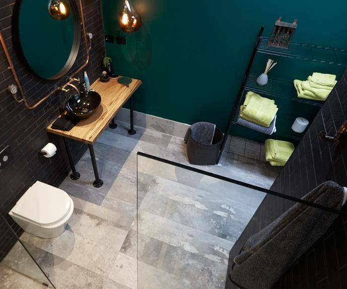 """**The bathroom in Andrew and Jono's house in WA (Sean and Ella):** """"I loved the steampunk bathroom. That was just seriously cool. That incredible copper bath, and that double shower. I loved it."""""""