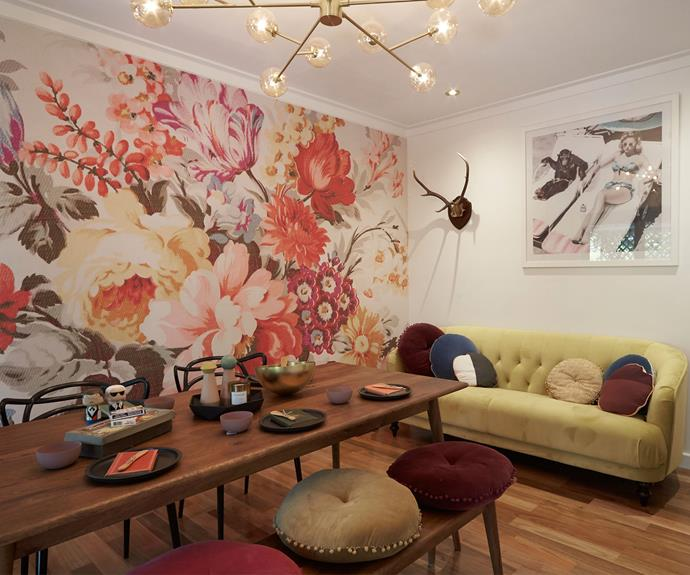 """**The dining room in Andrew and Jono's house in WA (Sean and Ella):** """"I actually loved the dining room, even though I wasn't sure it met the House Rules. I thought it was a really lovely room and I though their floral wall covering was just perfect."""""""