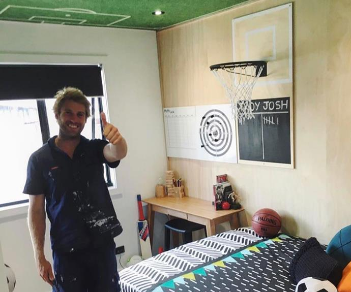 """**Bec's son's bedroom in Troy's house in NSW (Sean and Ella):** """"I thought it was really clever, the way they had that soccer field on the ceiling. That was a really nice room and it was a really nice use of space. It's hard to design a teenage boy's room and I thought they did a really good job."""""""