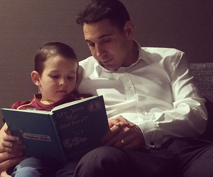 NRL's **Billy Slater** enjoys some Dr. Seuss with his lookalike son, Jake, six. The special moment was captured by his wife, Nicole, on her [Instagram](https://www.instagram.com/nicoleroseart/?hl=en). The couple are also parents to daughter Tyler Rose.