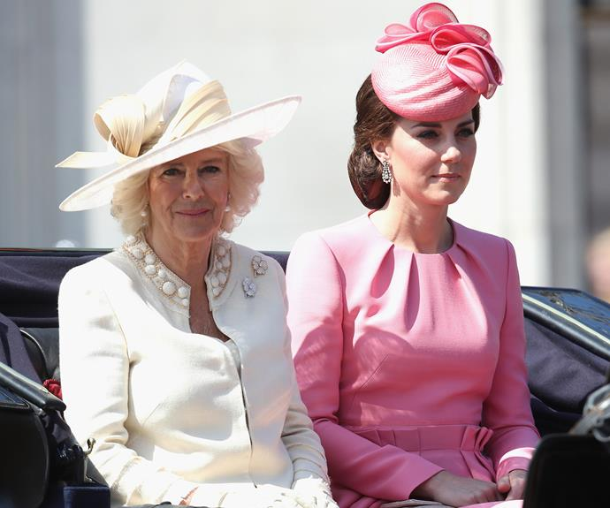 Duchess Camilla and Duchess Catherine arrived together on a horse-drawn carriage.