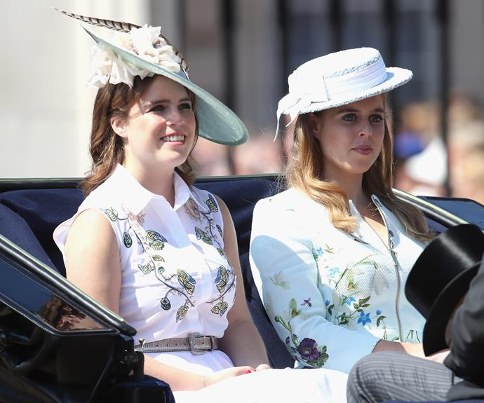 Princess Beatrice and Princess Eugenie worked floral looks for their grandmother's birthday bash.