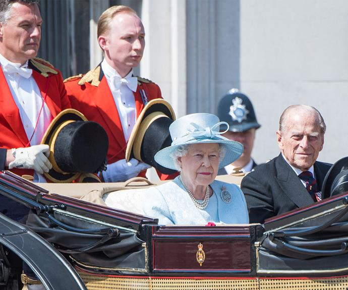 For the first time, Prince Philip isn't wearing his military uniform due to his recent retirement.