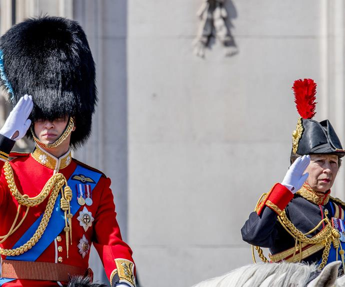 Prince William and Princess Anne salute the troops.