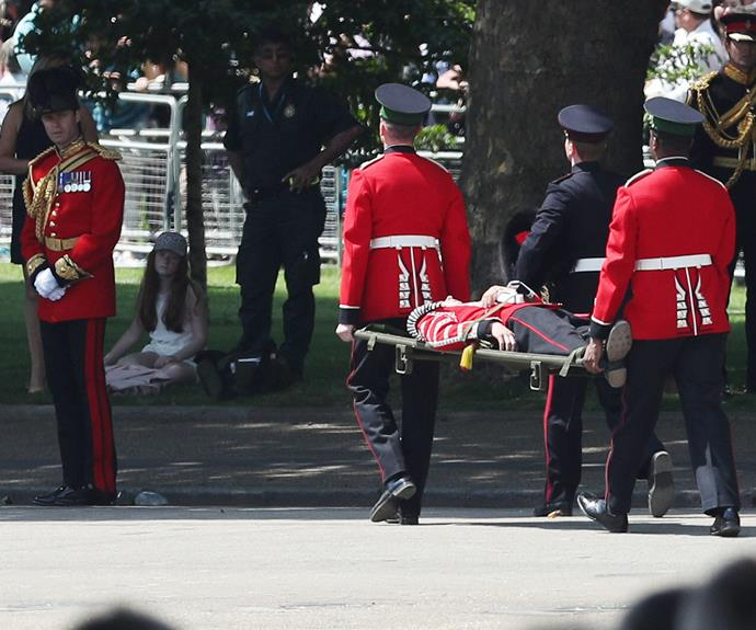 He was quickly looked after by his colleagues and carted off in a stretcher.